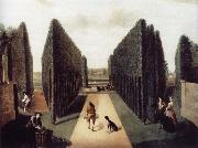 unknow artist Hartwell House,Topiary alleys behind the wilderness and William iii Column painting